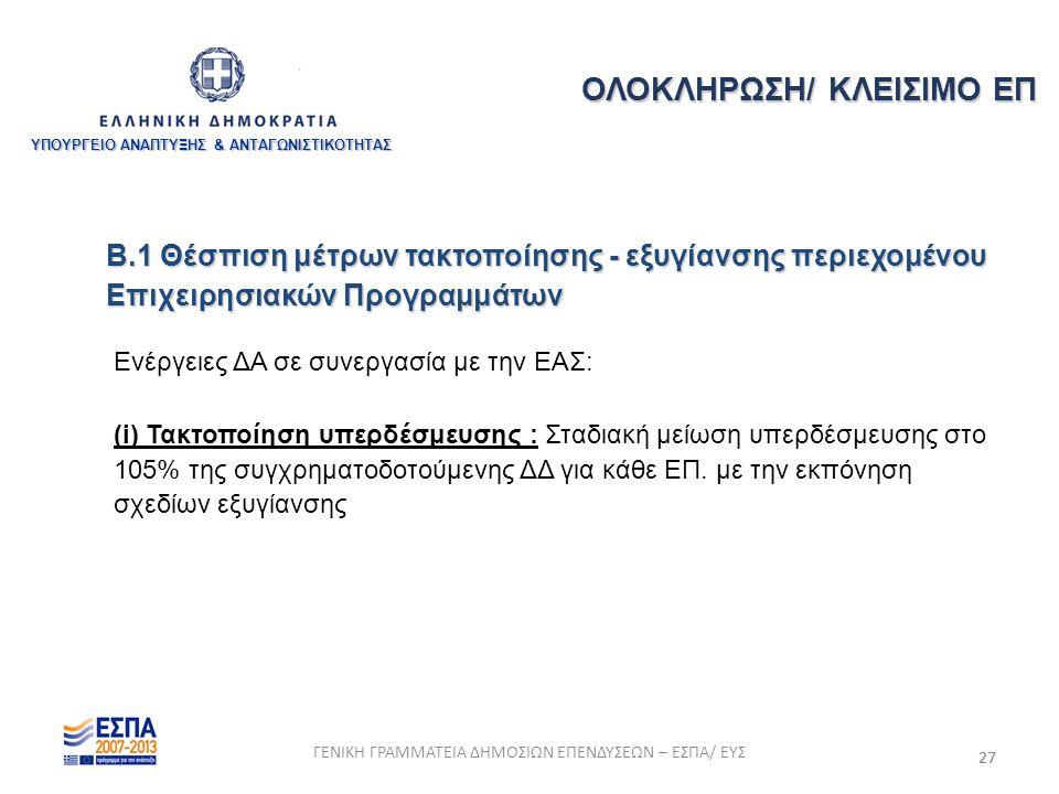 27 Β.1 Θέσπιση μέτρων τακτοποίησης - εξυγίανσης περιεχομένου Επιχειρησιακών Προγραμμάτων Ενέργειες ΔΑ σε συνεργασία με την ΕΑΣ: (i) Τακτοποίηση υπερδέσμευσης : Σταδιακή μείωση υπερδέσμευσης στο 105% της συγχρηματοδοτούμενης ΔΔ για κάθε ΕΠ.