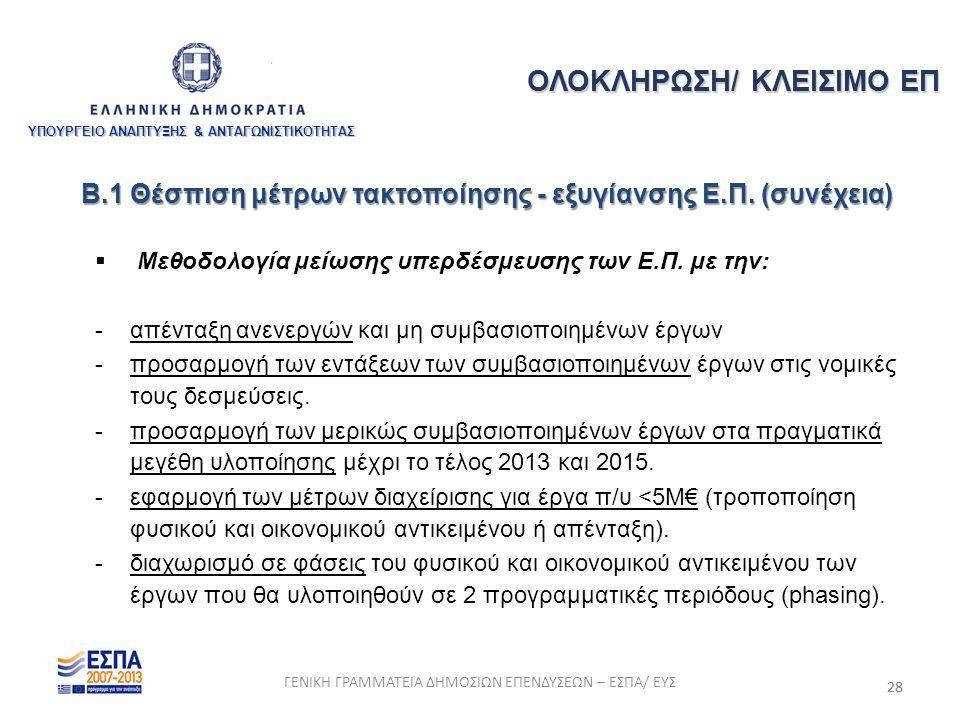 28  Μεθοδολογία μείωσης υπερδέσμευσης των Ε.Π. με την: - απένταξη ανενεργών και μη συμβασιοποιημένων έργων - προσαρμογή των εντάξεων των συμβασιοποιη