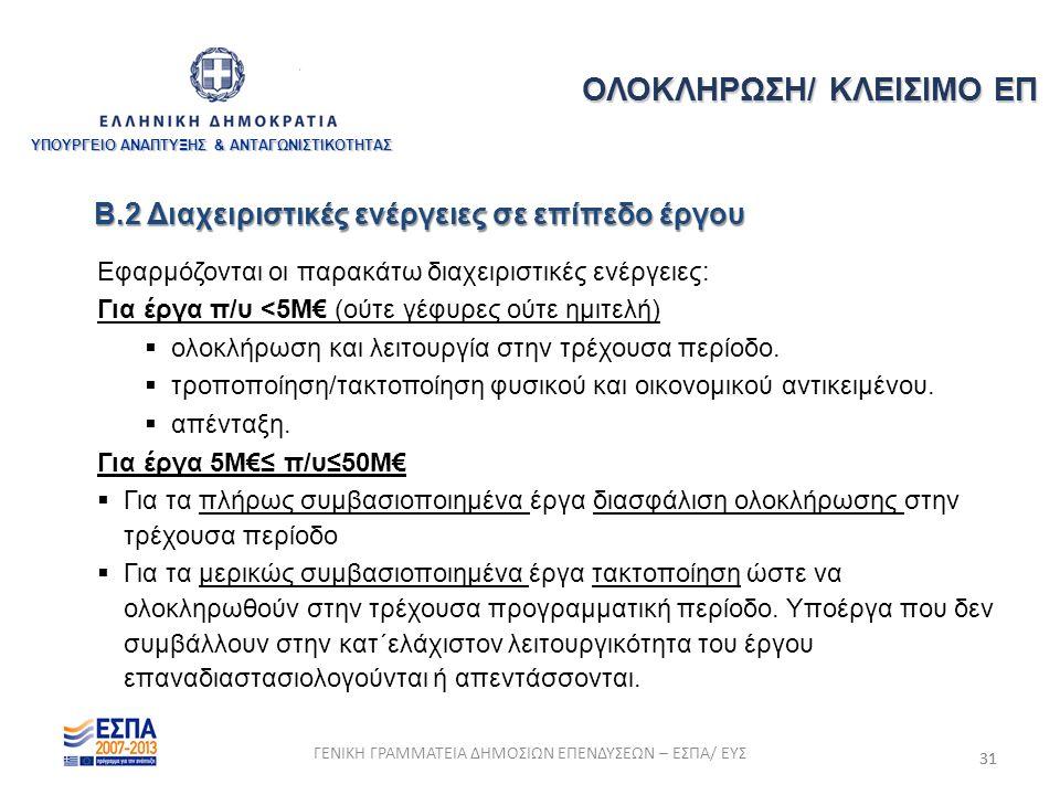 31 Εφαρμόζονται οι παρακάτω διαχειριστικές ενέργειες: Για έργα π/υ <5Μ€ (ούτε γέφυρες ούτε ημιτελή)  ολοκλήρωση και λειτουργία στην τρέχουσα περίοδο.