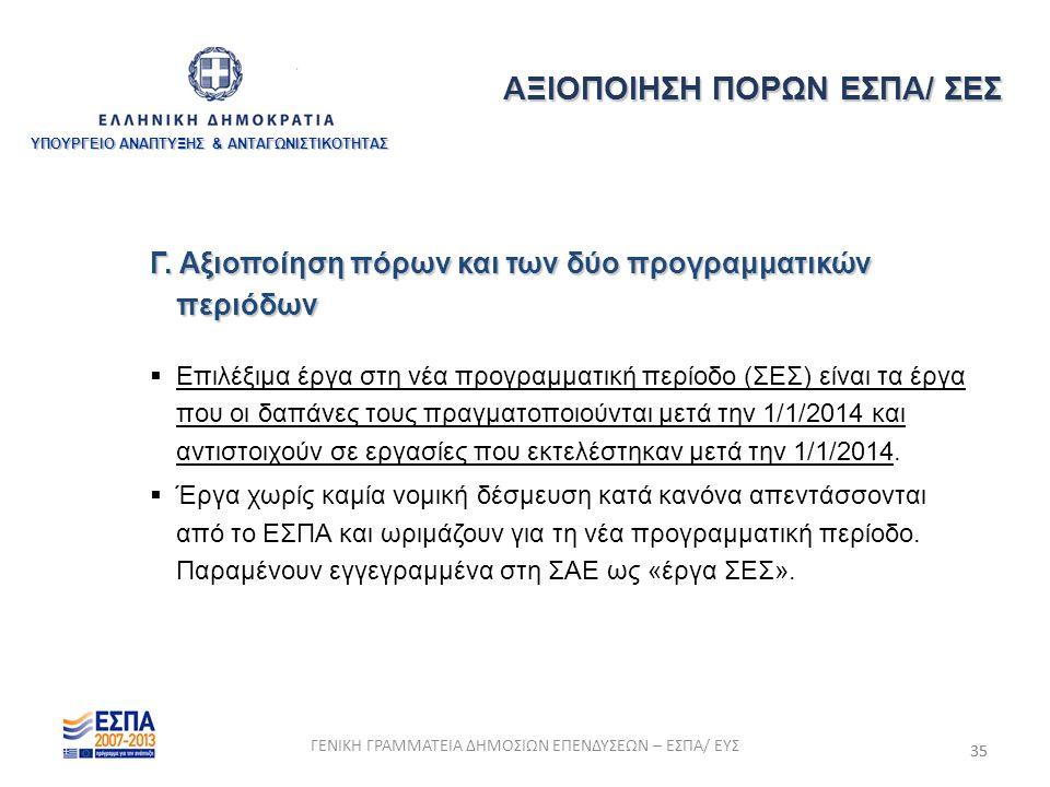 35 Γ. Αξιοποίηση πόρων και των δύο προγραμματικών περιόδων  Επιλέξιμα έργα στη νέα προγραμματική περίοδο (ΣΕΣ) είναι τα έργα που οι δαπάνες τους πραγ