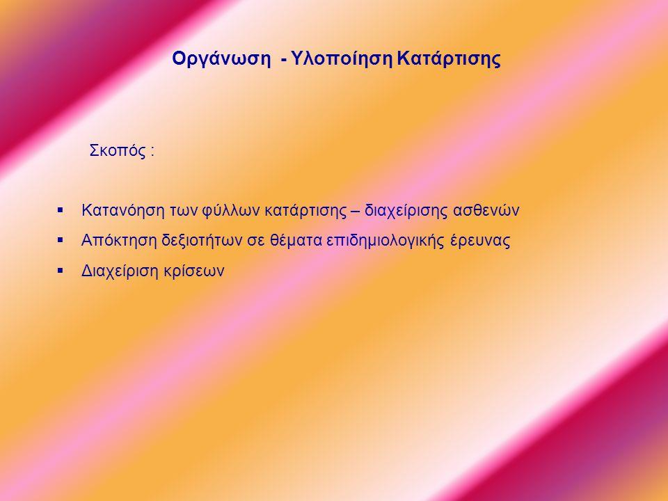 Οργάνωση - Υλοποίηση Κατάρτισης Σκοπός :  Κατανόηση των φύλλων κατάρτισης – διαχείρισης ασθενών  Απόκτηση δεξιοτήτων σε θέματα επιδημιολογικής έρευνας  Διαχείριση κρίσεων