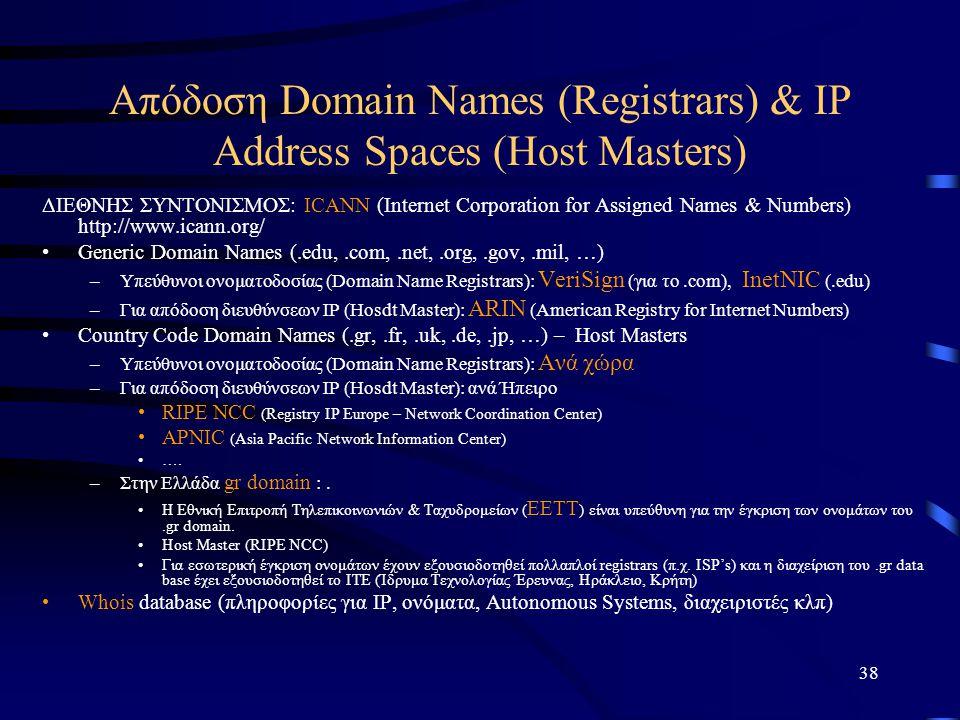 38 Απόδοση Domain Names (Registrars) & IP Address Spaces (Host Masters) ΔΙΕΘΝΗΣ ΣΥΝΤΟΝΙΣΜΟΣ: ICANΝ (Internet Corporation for Assigned Names & Numbers)