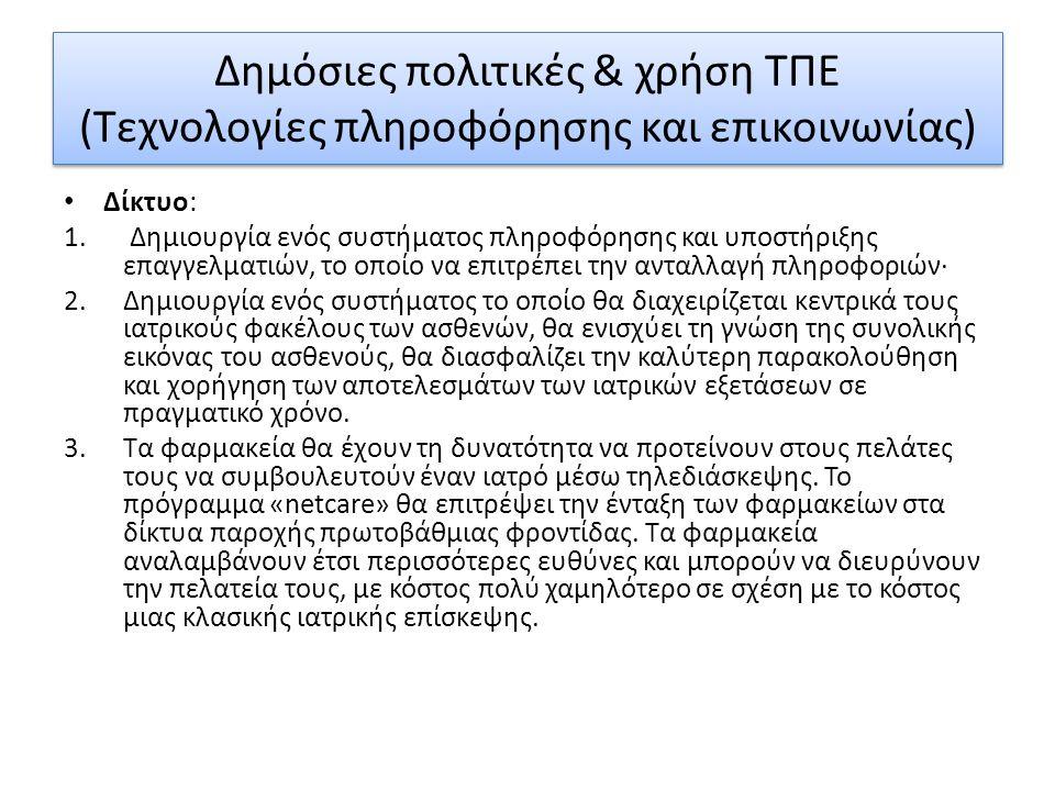 Δημόσιες πολιτικές & χρήση ΤΠΕ (Τεχνολογίες πληροφόρησης και επικοινωνίας) Δίκτυο: 1.