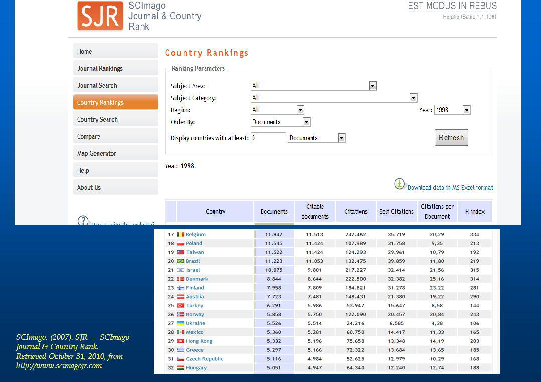 SCImago. (2007). SJR — SCImago Journal & Country Rank. Retrieved October 31, 2010, from http://www.scimagojr.com