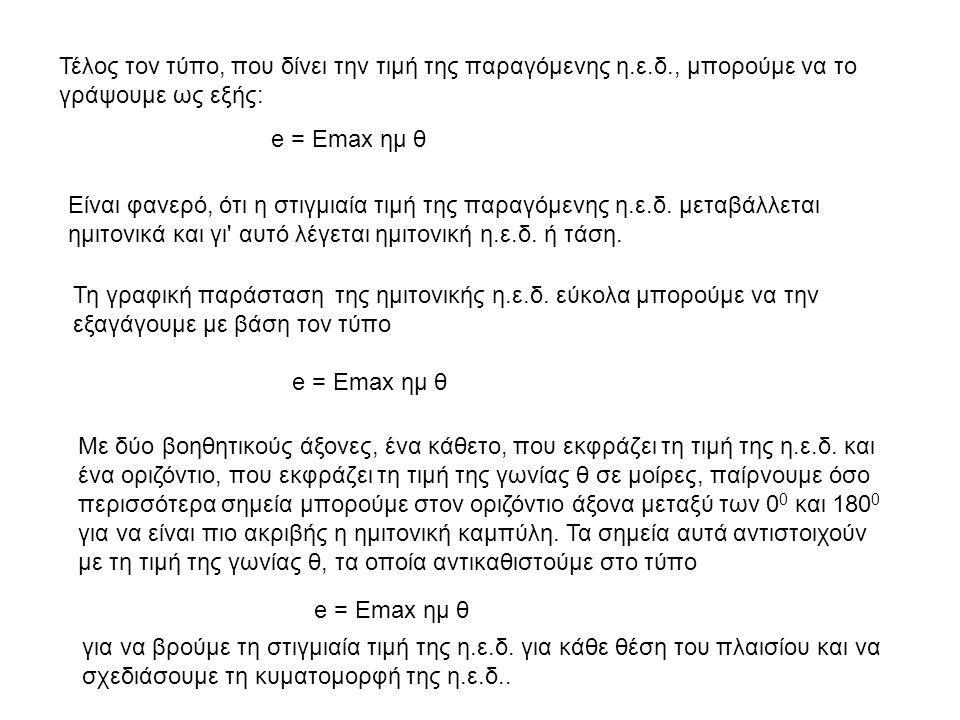 Τέλος τον τύπο, που δίνει την τιμή της παραγόμενης η.ε.δ., μπορούμε να το γράψουμε ως εξής: e = Emax ημ θ Είναι φανερό, ότι η στιγμιαία τιμή της παραγ