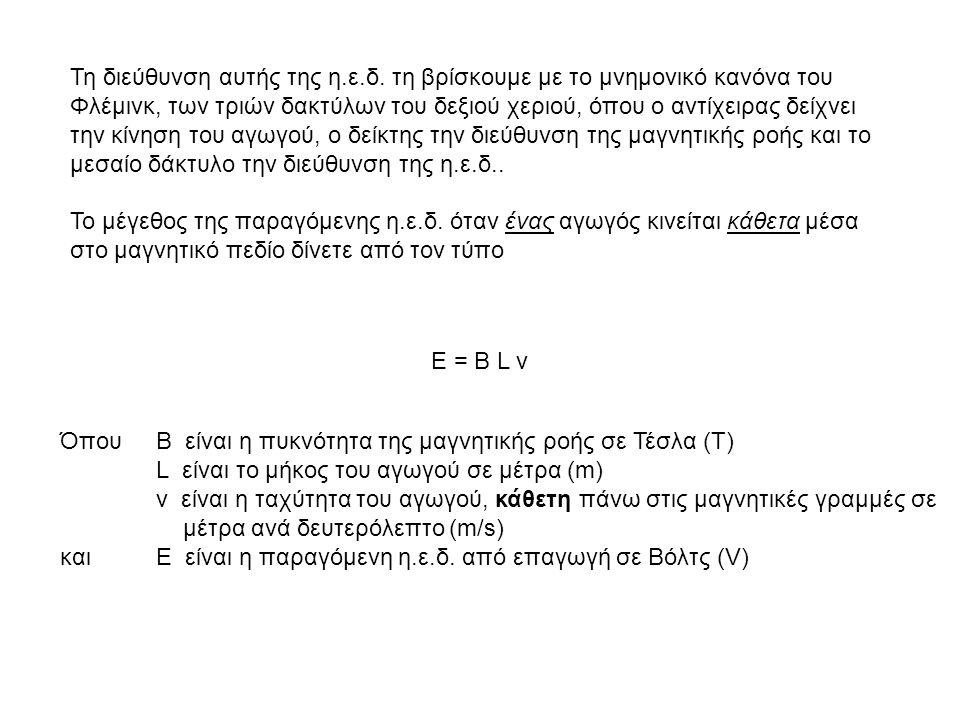 Τη διεύθυνση αυτής της η.ε.δ. τη βρίσκουμε με το μνημονικό κανόνα του Φλέμινκ, των τριών δακτύλων του δεξιού χεριού, όπου ο αντίχειρας δείχνει την κίν