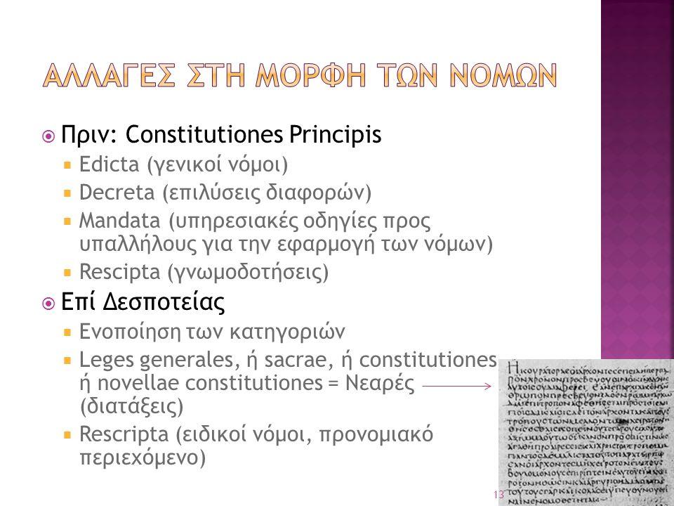  Πριν: Constitutiones Principis  Edicta (γενικοί νόμοι)  Decreta (επιλύσεις διαφορών)  Mandata (υπηρεσιακές οδηγίες προς υπαλλήλους για την εφαρμο
