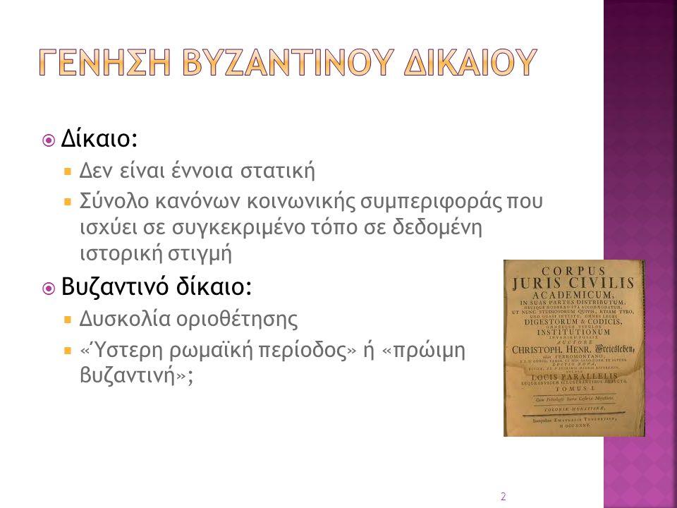  Δίκαιο:  Δεν είναι έννοια στατική  Σύνολο κανόνων κοινωνικής συμπεριφοράς που ισχύει σε συγκεκριμένο τόπο σε δεδομένη ιστορική στιγμή  Βυζαντινό
