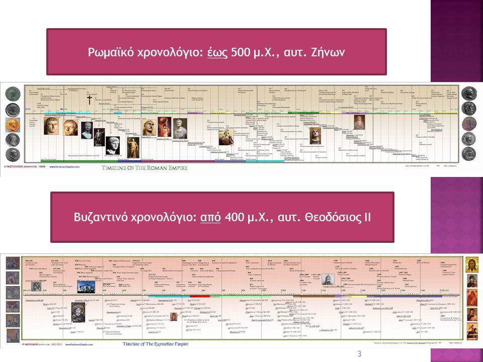 Ρωμαϊκό χρονολόγιο: έως 500 μ.Χ., αυτ. Ζήνων Βυζαντινό χρονολόγιο: από 400 μ.Χ., αυτ. Θεοδόσιος ΙΙ 3