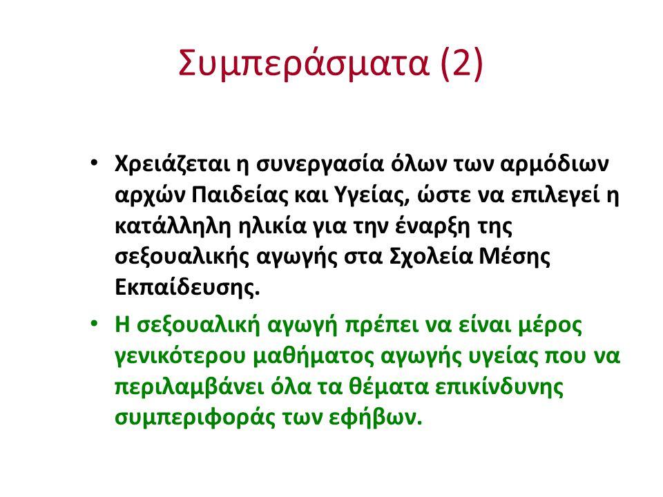 Συμπεράσματα (2) Χρειάζεται η συνεργασία όλων των αρμόδιων αρχών Παιδείας και Υγείας, ώστε να επιλεγεί η κατάλληλη ηλικία για την έναρξη της σεξουαλικ