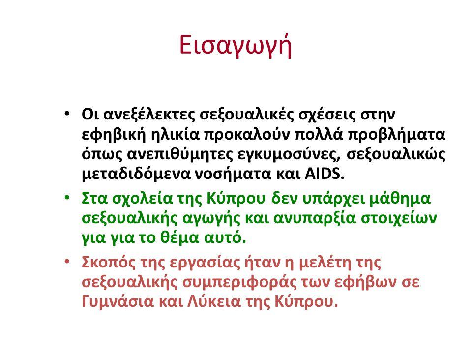 Εισαγωγή Οι ανεξέλεκτες σεξουαλικές σχέσεις στην εφηβική ηλικία προκαλούν πολλά προβλήματα όπως ανεπιθύμητες εγκυμοσύνες, σεξουαλικώς μεταδιδόμενα νοσήματα και AIDS.