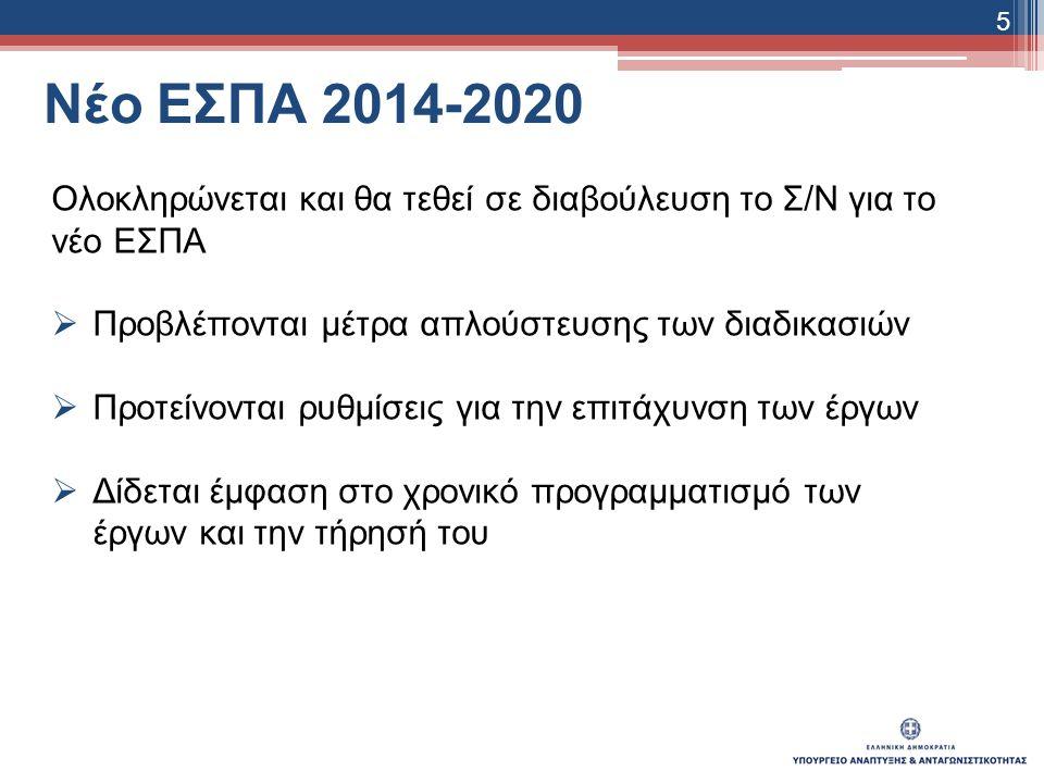 Νέο ΕΣΠΑ 2014-2020 Ολοκληρώνεται και θα τεθεί σε διαβούλευση το Σ/Ν για το νέο ΕΣΠΑ  Προβλέπονται μέτρα απλούστευσης των διαδικασιών  Προτείνονται ρυθμίσεις για την επιτάχυνση των έργων  Δίδεται έμφαση στο χρονικό προγραμματισμό των έργων και την τήρησή του 5