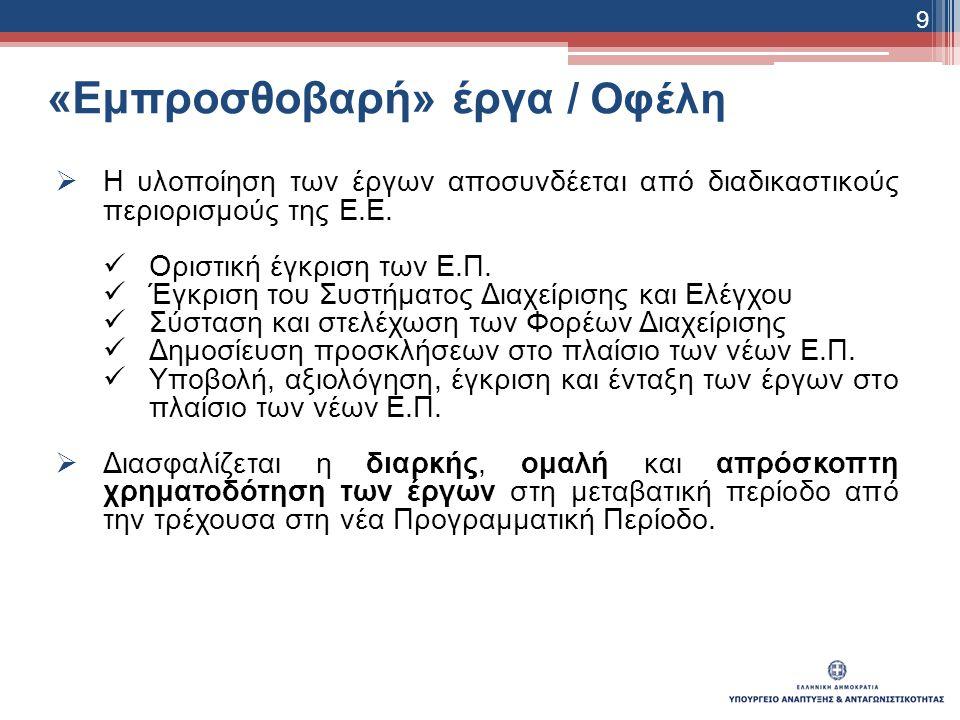 «Εμπροσθοβαρή» έργα / Οφέλη  Η υλοποίηση των έργων αποσυνδέεται από διαδικαστικούς περιορισμούς της Ε.Ε.