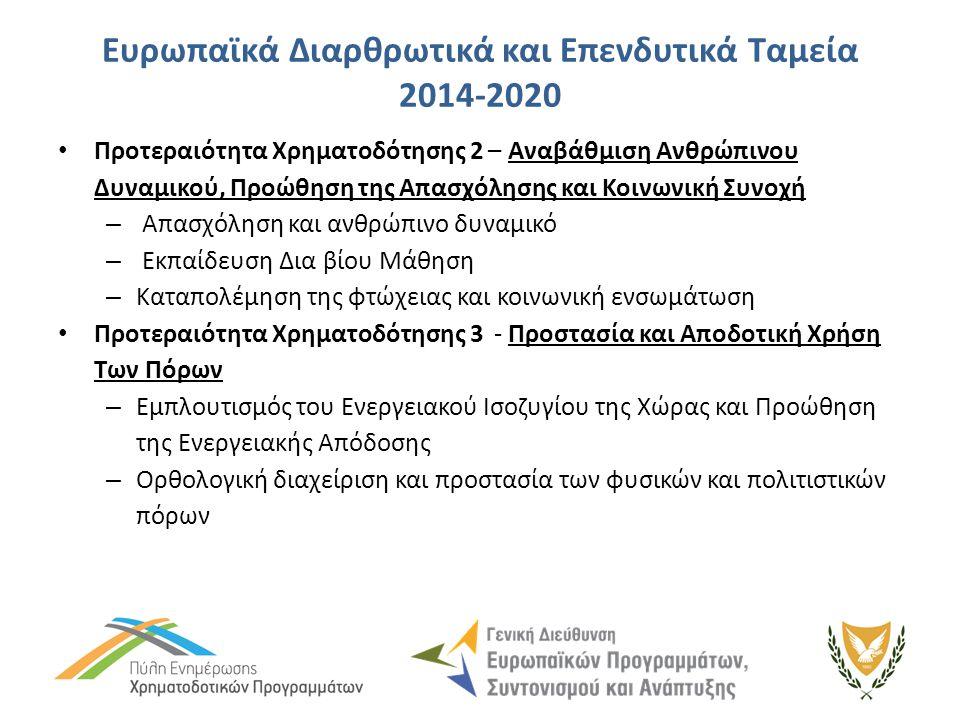 Ευρωπαϊκά Διαρθρωτικά και Επενδυτικά Ταμεία 2014-2020 Προτεραιότητα Χρηματοδότησης 2 – Αναβάθμιση Ανθρώπινου Δυναμικού, Προώθηση της Απασχόλησης και Κοινωνική Συνοχή – Απασχόληση και ανθρώπινο δυναμικό – Εκπαίδευση Δια βίου Μάθηση – Καταπολέμηση της φτώχειας και κοινωνική ενσωμάτωση Προτεραιότητα Χρηματοδότησης 3 - Προστασία και Αποδοτική Χρήση Των Πόρων – Εμπλουτισμός του Ενεργειακού Ισοζυγίου της Χώρας και Προώθηση της Ενεργειακής Απόδοσης – Ορθολογική διαχείριση και προστασία των φυσικών και πολιτιστικών πόρων