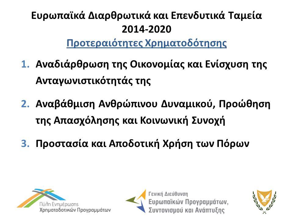Ευρωπαϊκά Διαρθρωτικά και Επενδυτικά Ταμεία 2014-2020 Προτεραιότητες Χρηματοδότησης 1.Αναδιάρθρωση της Οικονομίας και Ενίσχυση της Ανταγωνιστικότητάς της 2.Αναβάθμιση Ανθρώπινου Δυναμικού, Προώθηση της Απασχόλησης και Κοινωνική Συνοχή 3.Προστασία και Αποδοτική Χρήση των Πόρων