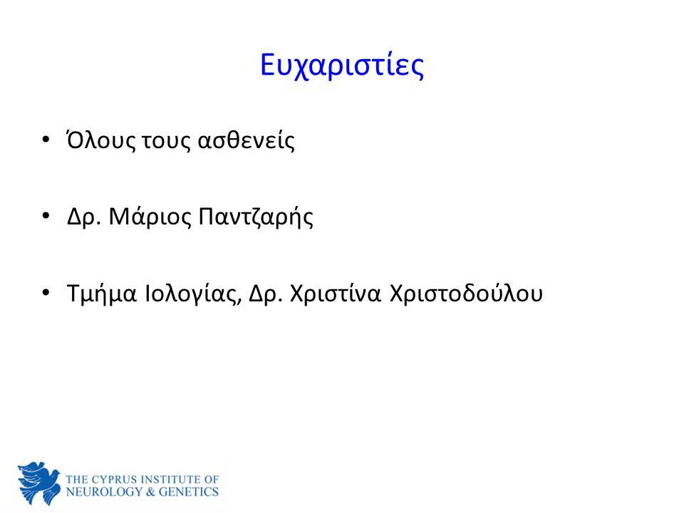 Ευχαριστίες Όλους τους ασθενείς Δρ. Μάριος Παντζαρής Τμήμα Ιολογίας, Δρ. Χριστίνα Χριστοδούλου