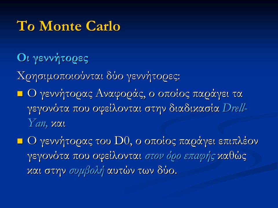 Το Monte Carlo Οι γεννήτορες Χρησιμοποιούνται δύο γεννήτορες: Ο γεννήτορας Αναφοράς, ο οποίος παράγει τα γεγονότα που οφείλονται στην διαδικασία Drell