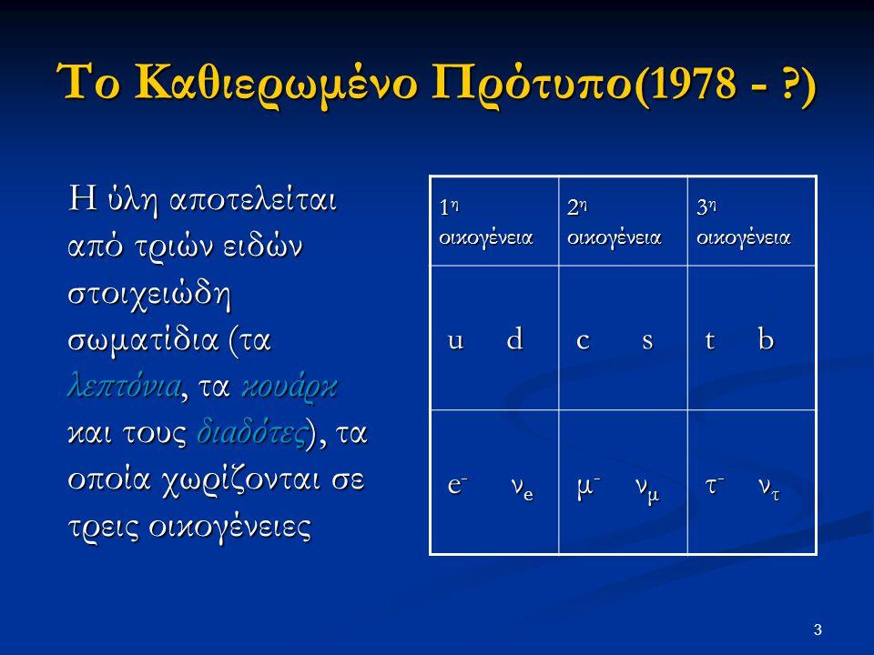 3 Το Καθιερωμένο Πρότυπο (1978 - ?) Η ύλη αποτελείται από τριών ειδών στοιχειώδη σωματίδια (τα λεπτόνια, τα κουάρκ και τους διαδότες), τα οποία χωρίζο