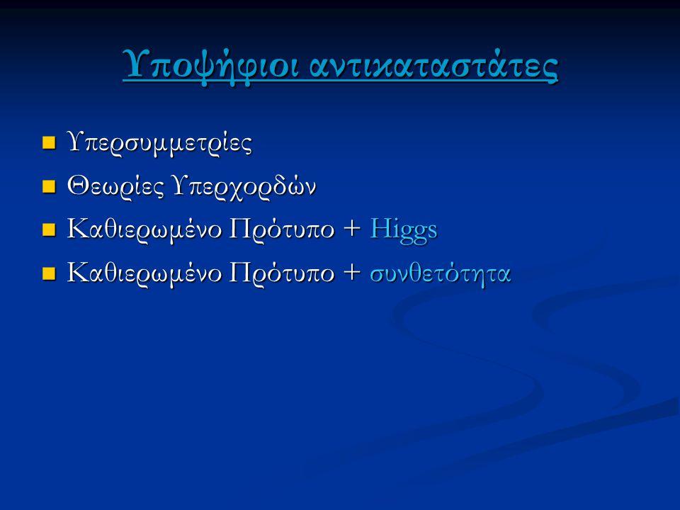 Υποψήφιοι αντικαταστάτες Υπερσυμμετρίες Υπερσυμμετρίες Θεωρίες Υπερχορδών Θεωρίες Υπερχορδών Καθιερωμένο Πρότυπο + Higgs Καθιερωμένο Πρότυπο + Higgs Κ