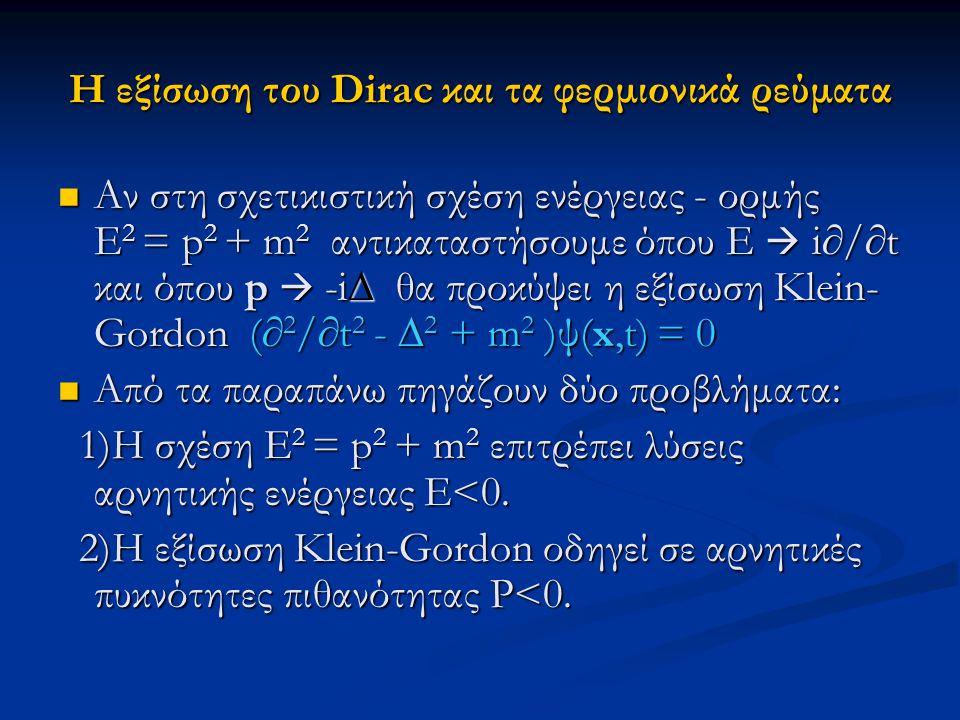 Η εξίσωση του Dirac και τα φερμιονικά ρεύματα Αν στη σχετικιστική σχέση ενέργειας - ορμής E 2 = p 2 + m 2 αντικαταστήσουμε όπου Ε  i∂/∂t και όπου p 