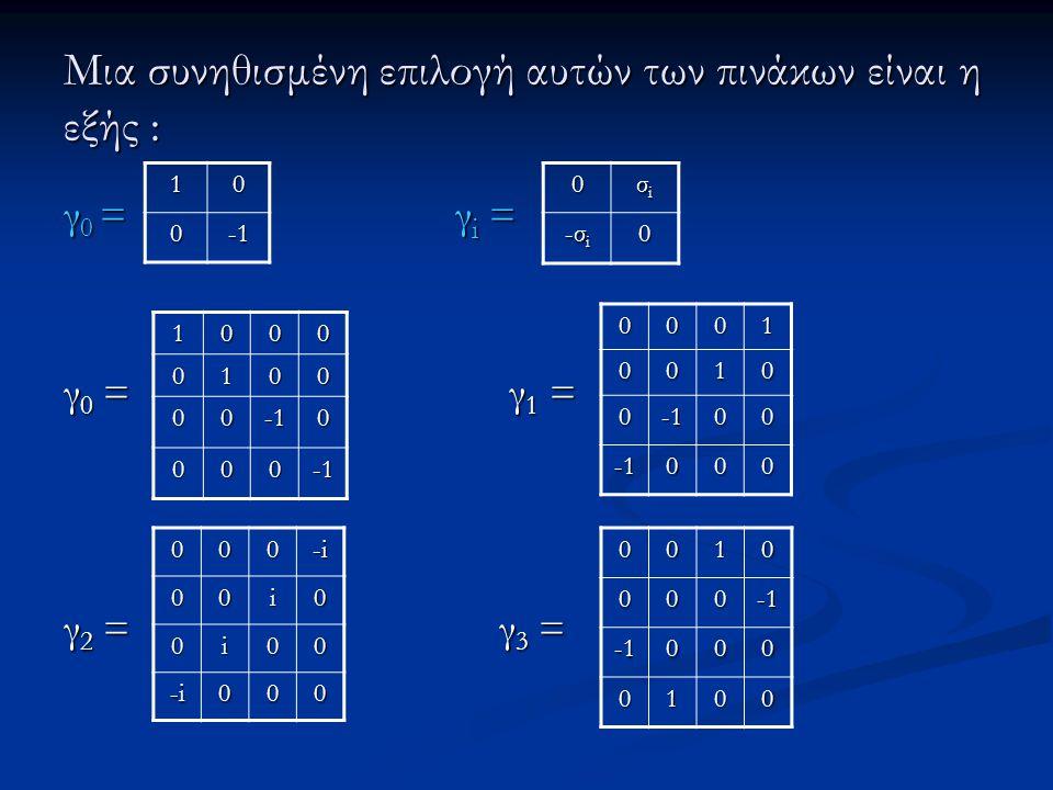 Μια συνηθισμένη επιλογή αυτών των πινάκων είναι η εξής : γ 0 = γ i = γ 0 = γ 1 = γ 2 = γ 3 = 10 0 10000100 000 000 00010010 000000 000 -i-i-i-i00i0 0i