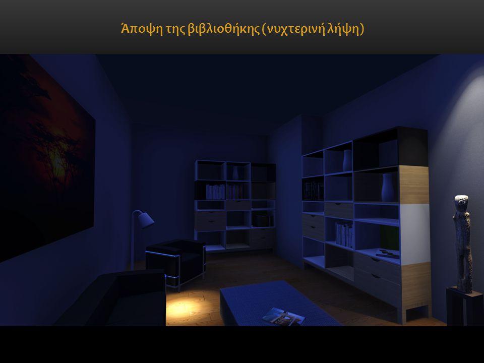 Άποψη της βιβλιοθήκης (νυχτερινή λήψη)