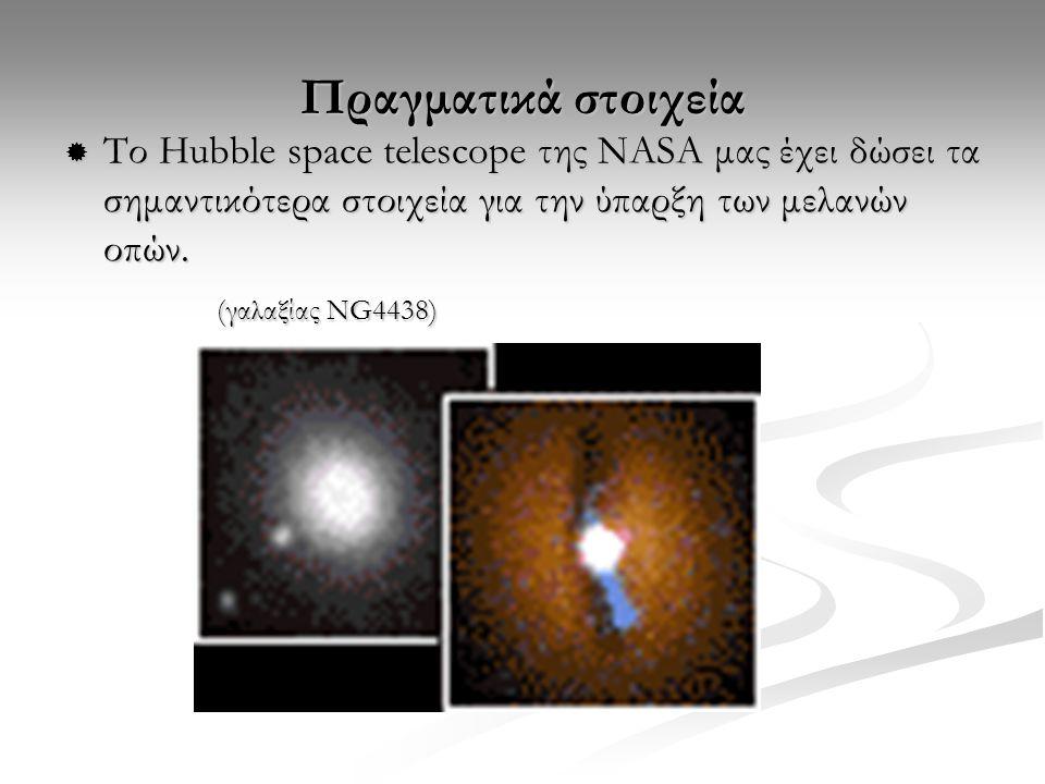 Πραγματικά στοιχεία  Το Hubble space telescope της ΝASA μας έχει δώσει τα σημαντικότερα στοιχεία για την ύπαρξη των μελανών οπών. (γαλαξίας NG4438) (