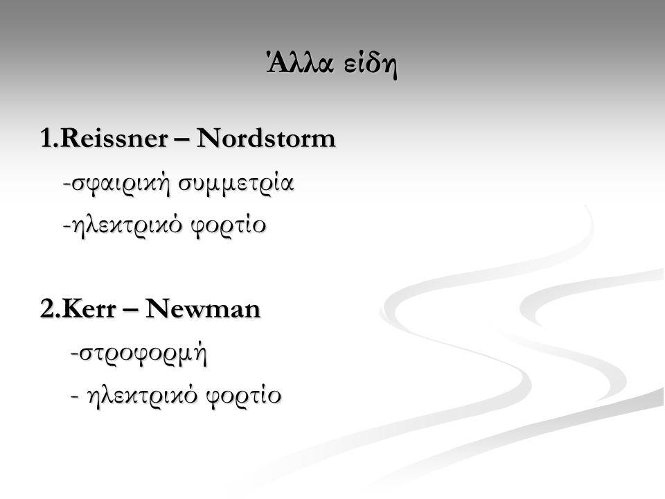 Άλλα είδη 1.Reissner – Nordstorm -σφαιρική συμμετρία -σφαιρική συμμετρία -ηλεκτρικό φορτίο -ηλεκτρικό φορτίο 2.Kerr – Newman -στροφορμή -στροφορμή - ηλεκτρικό φορτίο - ηλεκτρικό φορτίο