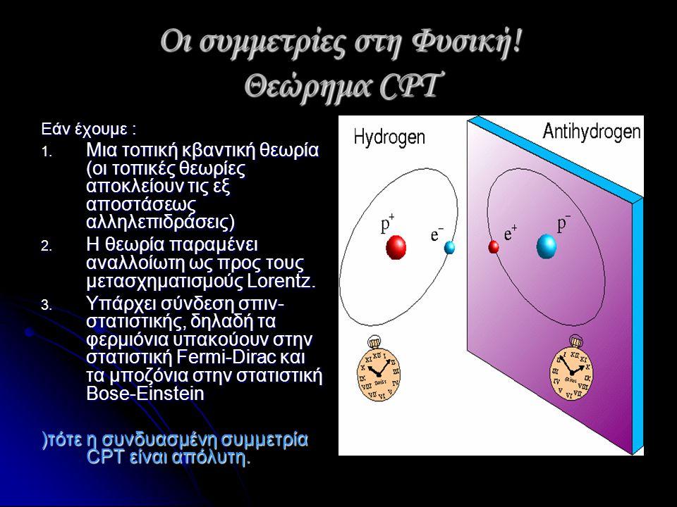 Οι συμμετρίες στη Φυσική! Θεώρημα CPT Εάν έχουμε : 1. Μια τοπική κβαντική θεωρία (οι τοπικές θεωρίες αποκλείουν τις εξ αποστάσεως αλληλεπιδράσεις) 2.