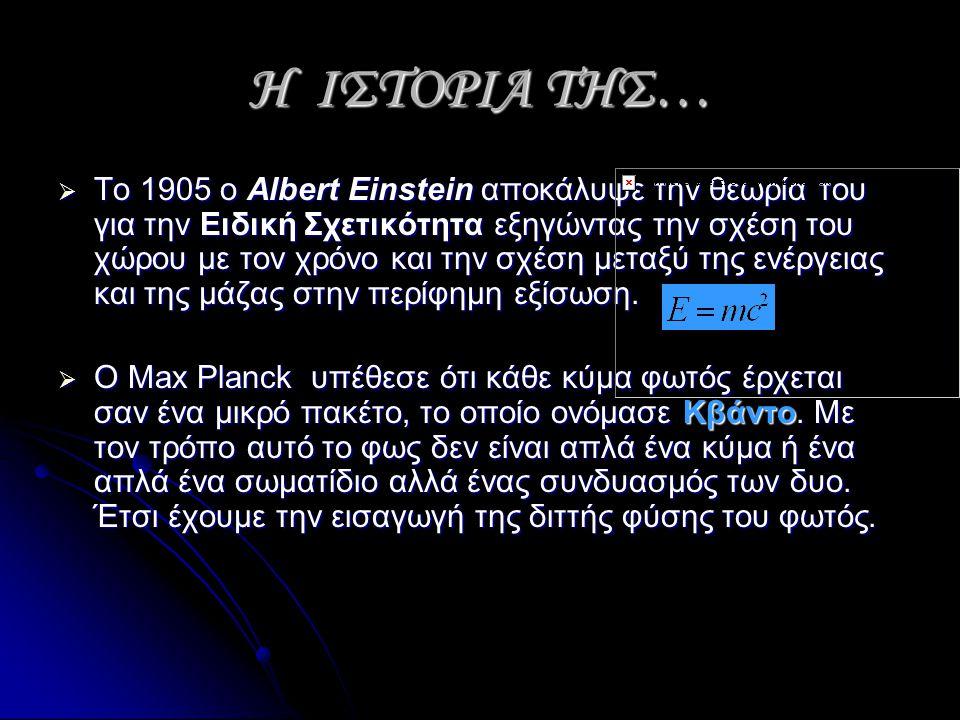 Η ΙΣΤΟΡΙΑ ΤΗΣ…  Το 1905 ο Albert Einstein αποκάλυψε την θεωρία του για την Ειδική Σχετικότητα εξηγώντας την σχέση του χώρου με τον χρόνο και την σχέση μεταξύ της ενέργειας και της μάζας στην περίφημη εξίσωση.
