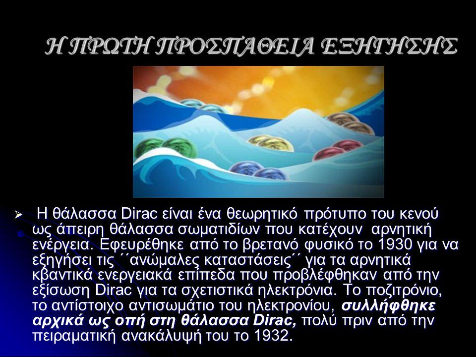 Η ΠΡΩΤΗ ΠΡΟΣΠΑΘΕΙΑ ΕΞΗΓΗΣΗΣ  Η θάλασσα Dirac είναι ένα θεωρητικό πρότυπο του κενού ως άπειρη θάλασσα σωματιδίων που κατέχουν αρνητική ενέργεια. Εφευρ