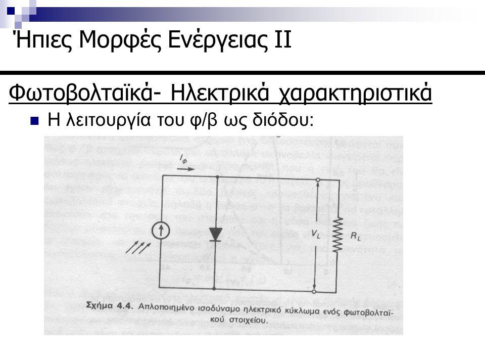 Φωτοβολταϊκά- Ηλεκτρικά χαρακτηριστικά Ήπιες Μορφές Ενέργειας ΙΙ Η λειτουργία του φ/β ως διόδου: