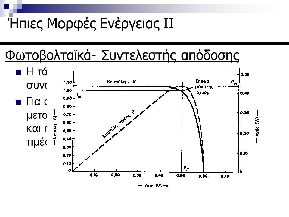 Φωτοβολταϊκά- Συντελεστής απόδοσης Ήπιες Μορφές Ενέργειας ΙΙ Η τάση των φ/β μεταβάλλεται μη γραμμικά σε συνάρτηση με την ένταση του ρεύματος. Για σταθ