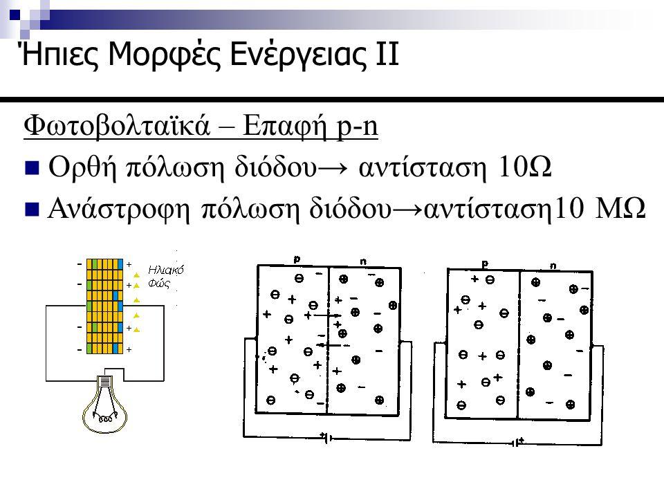 Φωτοβολταϊκά- Επαφή p-n Aνάστροφο ρεύμα κόρου Όπου V η τάση στα άκρα της διόδου, γ συντελεστής κατασκευής της διόδου (1-2), k σταθερά Boltzmann και T η θερμοκρασία Ήπιες Μορφές Ενέργειας ΙΙ