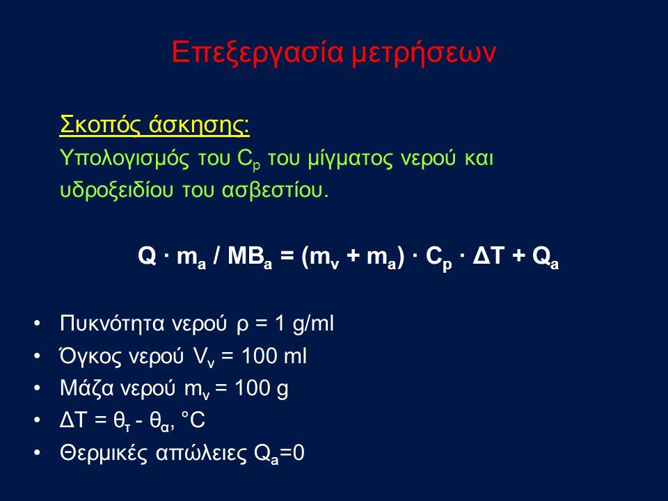 Επεξεργασία μετρήσεων Σκοπός άσκησης: Υπολογισμός του C p του μίγματος νερού και υδροξειδίου του ασβεστίου.