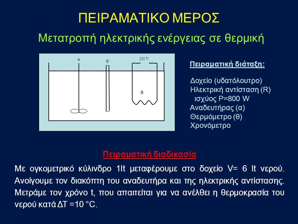 Επεξεργασία μετρήσεων Yπολογισμός των θερμικών απωλειών Q a : (προσφερόμενη ενέργεια) = (ωφέλιμη ενέργεια) + (θερμικές απώλειες) a ∙ P ∙ t = m ∙ C p ∙ ΔT + Q a πυκνότητα νερού ρ = 1g/ml ειδική θερμότητα νερού C p = 1 cal/g∙°C συντελεστής μετατροπής joule σε cal a=0,24 cal/j