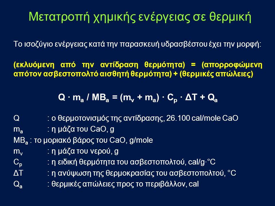 Το ισοζύγιο ενέργειας κατά την παρασκευή υδρασβέστου έχει την μορφή: (εκλυόμενη από την αντίδραση θερμότητα) = (απορροφώμενη απότον ασβεστοπολτό αισθητή θερμότητα) + (θερμικές απώλειες) Q · m a / MΒ a = (m ν + m a ) · C p · ΔΤ + Q a Q : ο θερμοτονισμός της αντίδρασης, 26.100 cal/mole CaO m a : η μάζα του CaO, g MΒ a : το μοριακό βάρος του CaO, g/mole m v : η μάζα του νερού, g C p : η ειδική θερμότητα του ασβεστοπολτού, cal/g∙°C ΔΤ : η ανύψωση της θερμοκρασίας του ασβεστοπολτού, °C Q a : θερμικές απώλειες προς το περιβάλλον, cal Μετατροπή χημικής ενέργειας σε θερμική