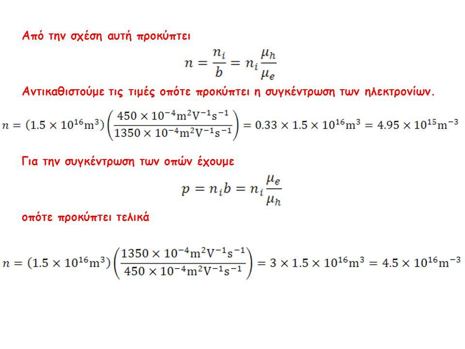 Από την σχέση αυτή προκύπτει Αντικαθιστούμε τις τιμές οπότε προκύπτει η συγκέντρωση των ηλεκτρονίων. Για την συγκέντρωση των οπών έχουμε οπότε προκύπτ
