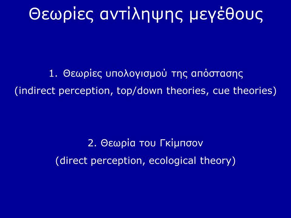 Θεωρίες αντίληψης μεγέθους 1.Θεωρίες υπολογισμού της απόστασης (indirect perception, top/down theories, cue theories) 2. Θεωρία του Γκίμπσον (direct p