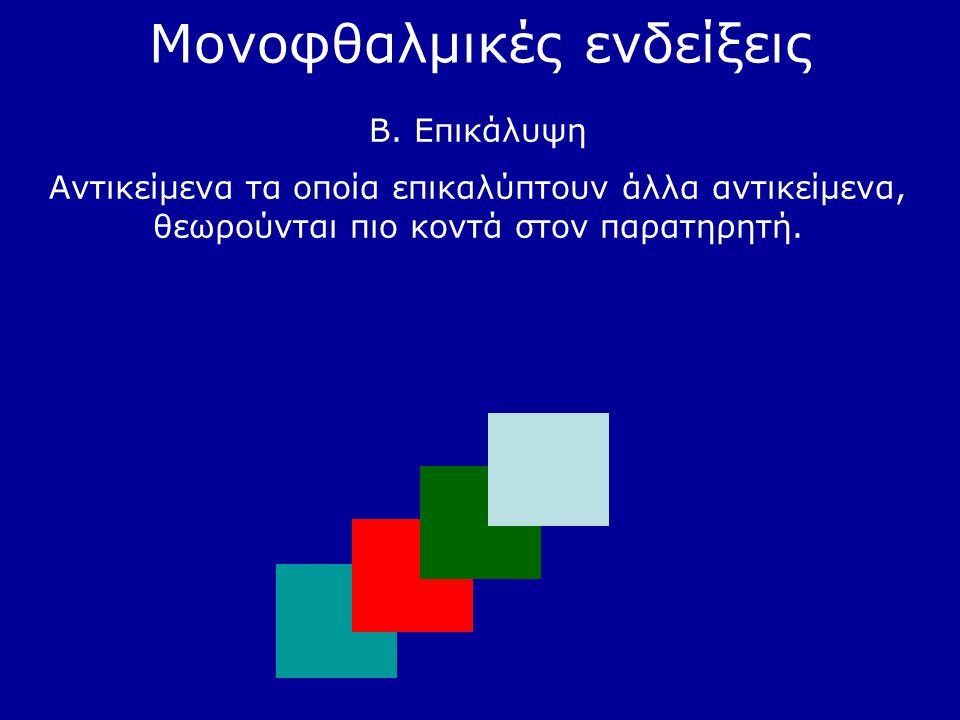 Μονοφθαλμικές ενδείξεις Β. Επικάλυψη Αντικείμενα τα οποία επικαλύπτουν άλλα αντικείμενα, θεωρούνται πιο κοντά στον παρατηρητή.