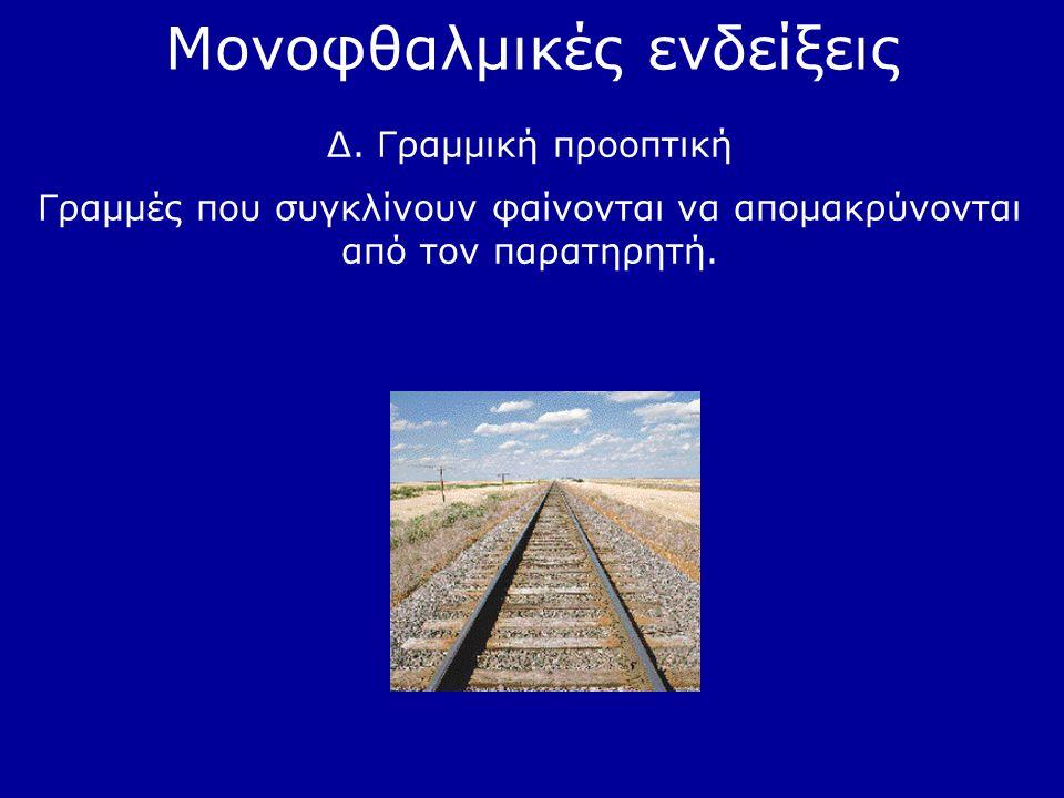 Μονοφθαλμικές ενδείξεις Δ. Γραμμική προοπτική Γραμμές που συγκλίνουν φαίνονται να απομακρύνονται από τον παρατηρητή.
