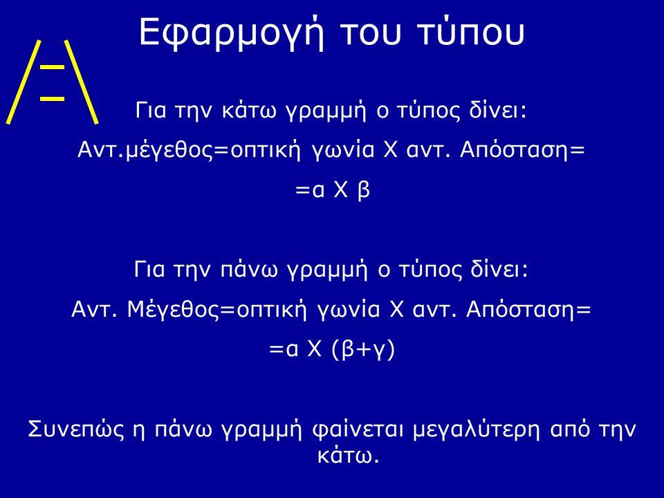 Εφαρμογή του τύπου Για την κάτω γραμμή ο τύπος δίνει: Αντ.μέγεθος=οπτική γωνία Χ αντ. Απόσταση= =α Χ β Για την πάνω γραμμή ο τύπος δίνει: Αντ. Μέγεθος