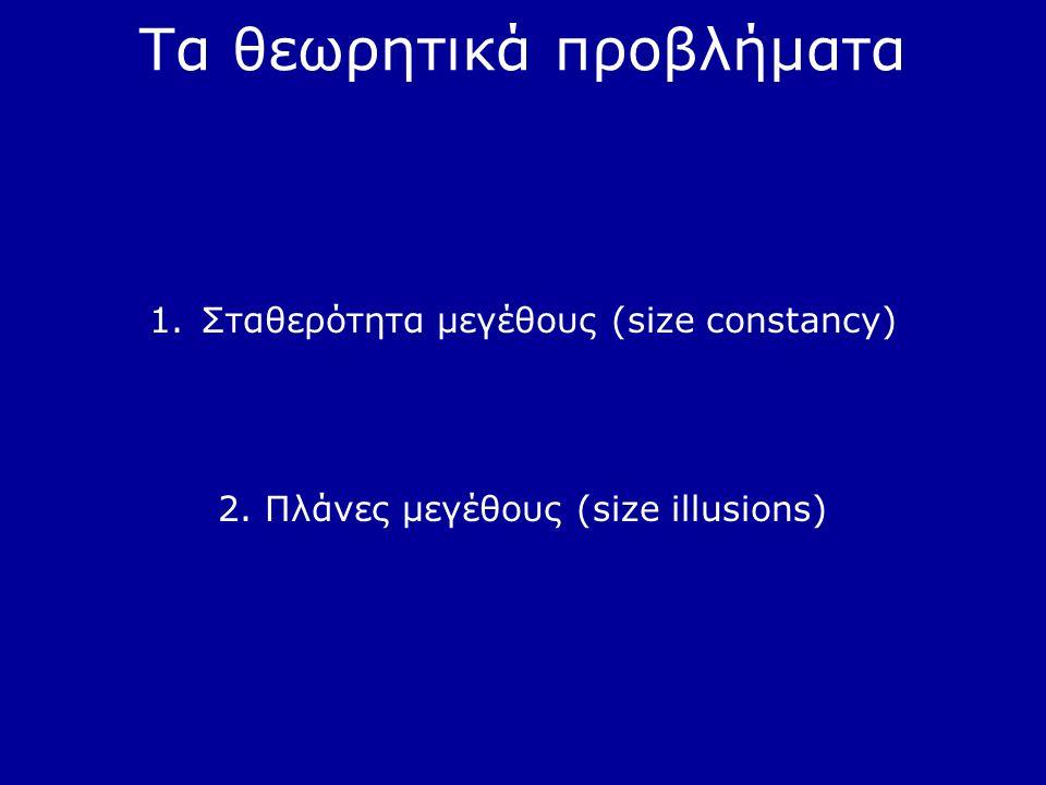 Τα θεωρητικά προβλήματα 1.Σταθερότητα μεγέθους (size constancy) 2. Πλάνες μεγέθους (size illusions)