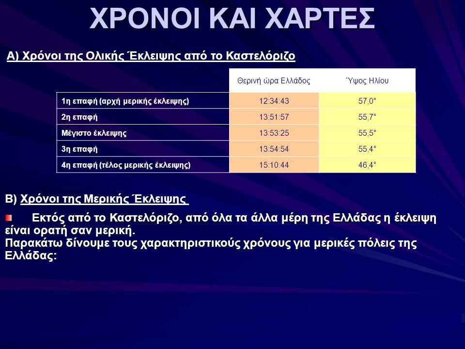 ΧΡΟΝΟΙ ΚΑΙ ΧΑΡΤΕΣ Β) Χρόνοι της Μερικής Έκλειψης Εκτός από το Καστελόριζο, από όλα τα άλλα μέρη της Ελλάδας η έκλειψη είναι ορατή σαν μερική.
