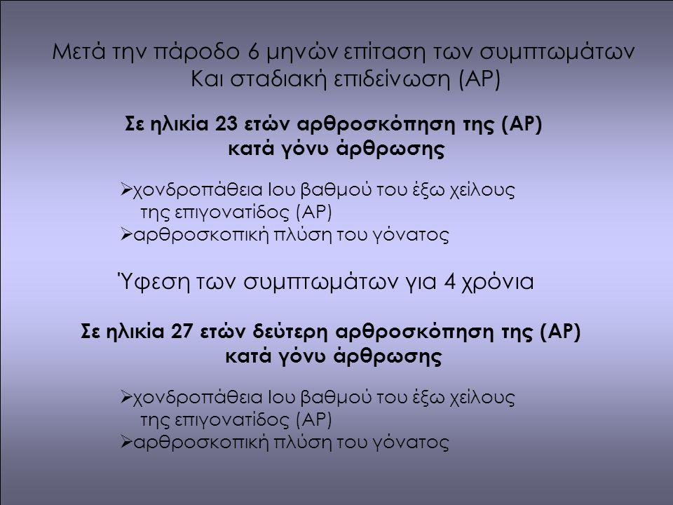 Μετά την πάροδο 6 μηνών επίταση των συμπτωμάτων Και σταδιακή επιδείνωση (ΑΡ) Σε ηλικία 23 ετών αρθροσκόπηση της (ΑΡ) κατά γόνυ άρθρωσης  χονδροπάθεια Iου βαθμού του έξω χείλους της επιγονατίδος (ΑΡ)  αρθροσκοπική πλύση του γόνατος Ύφεση των συμπτωμάτων για 4 χρόνια Σε ηλικία 27 ετών δεύτερη αρθροσκόπηση της (ΑΡ) κατά γόνυ άρθρωσης  χονδροπάθεια Iου βαθμού του έξω χείλους της επιγονατίδος (ΑΡ)  αρθροσκοπική πλύση του γόνατος