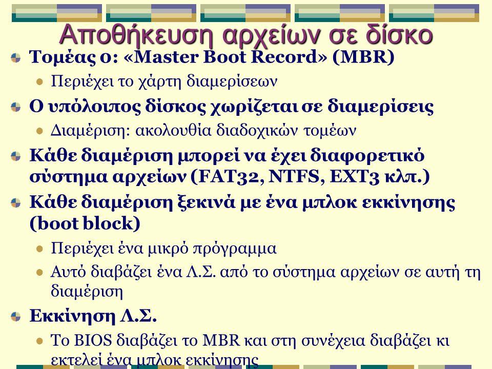 Αποθήκευση αρχείων σε δίσκο Τομέας 0: «Master Boot Record» (MBR) Περιέχει το χάρτη διαμερίσεων Ο υπόλοιπος δίσκος χωρίζεται σε διαμερίσεις Διαμέριση: ακολουθία διαδοχικών τομέων Κάθε διαμέριση μπορεί να έχει διαφορετικό σύστημα αρχείων (FAT32, NTFS, EXT3 κλπ.) Κάθε διαμέριση ξεκινά με ένα μπλοκ εκκίνησης (boot block) Περιέχει ένα μικρό πρόγραμμα Αυτό διαβάζει ένα Λ.Σ.