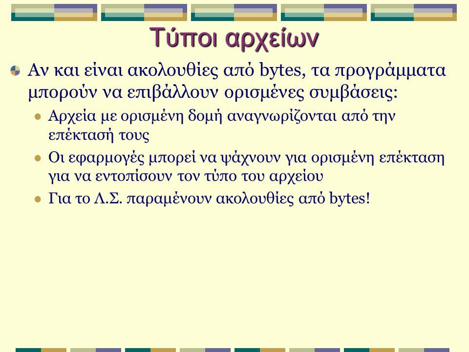 Τύποι αρχείων.exe.comΕκτελέσιμο αρχείο κώδικα μηχανής.dllDynamic Link Library.objΑρχείο κώδικα μηχανής, αποτέλεσμα μεταγλώττισης.c.cppΑρχείο πηγαίου κώδικα σε C, C++.txtΚείμενο σε μορφή ASCII.hlpΑρχείο βοήθειας.libΒιβλιοθήκη ρουτινών σε κώδικα μηχανής.doc.xls.pptΑρχεία εφαρμογών του Office.htm.htmlΑρχεία γλώσσας HTML – σελίδες web.jpg.bmp.gifΑρχεία με εικόνες.mp3.wavΑρχεία ήχου.mpg.movΑρχεία κινούμενης εικόνας - video.zip.ace.arjΣυμπιεσμένα αρχεία