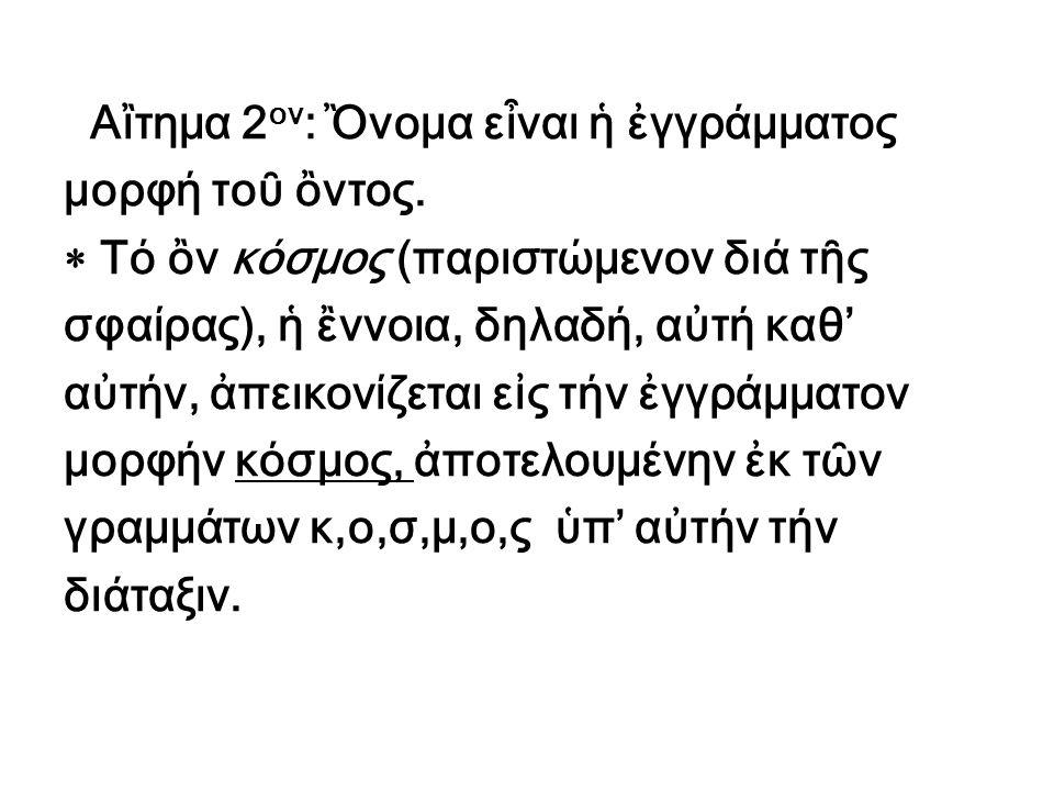 Αἲτημα 2 ον : Ὂνομα εἶναι ἡ ἐγγράμματος μορφή τοῦ ὂντος.  Τό ὂν κόσμος (παριστώμενον διά τῆς σφαίρας), ἡ ἒννοια, δηλαδή, αὐτή καθ' αὐτήν, ἀπεικονίζετ