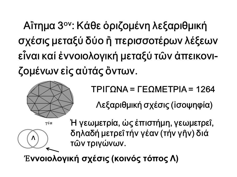 Αἲτημα 3 ον : Κάθε ὁριζομένη λεξαριθμική σχέσις μεταξύ δύο ἢ περισσοτέρων λέξεων εἶναι καί ἐννοιολογική μεταξύ τῶν ἀπεικονι- ζομένων εἰς αὐτάς ὂντων.