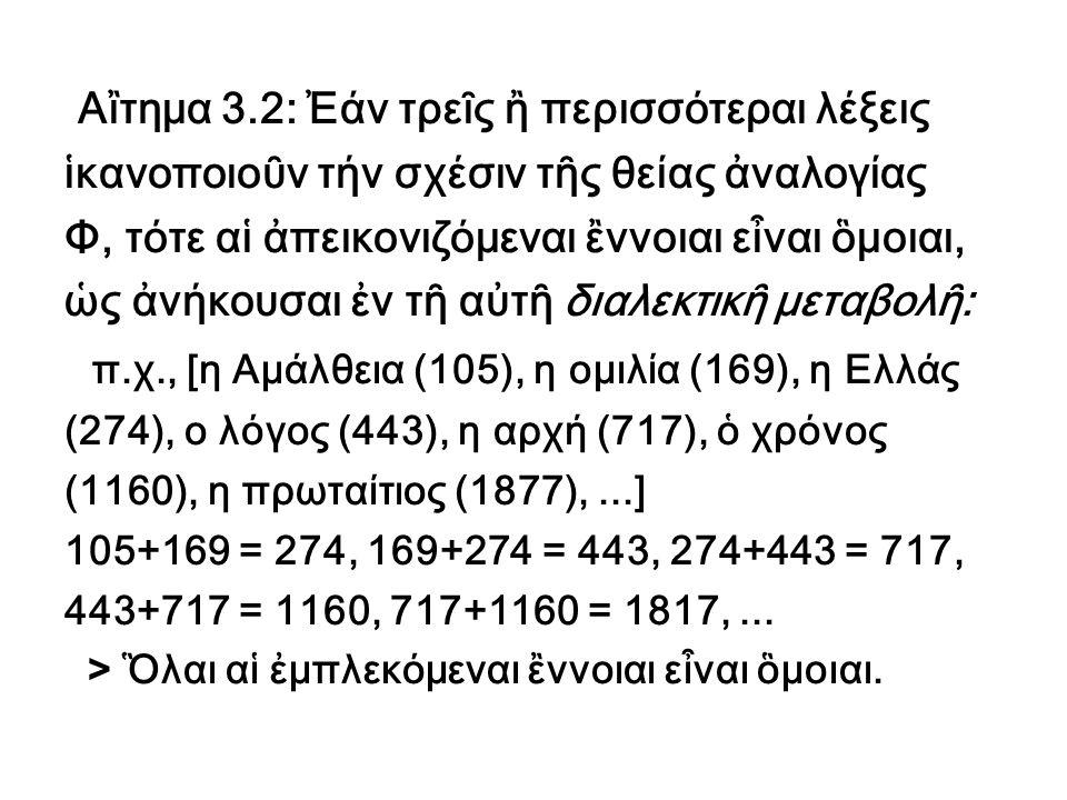 Ἀξιώματα Ἀξίωμα 1 ον : Κάθε λέξις ἒχει ἢ λαμβάνει συναρτή- σει τοῦ χρόνου μίαν ἢ περισσοτέρας διαχρονικάς σημασίας (ΔΣ), αἱ οποῖαι δέν εἶναι ξέναι μεταξύ των ἀλλά τέμνονται εἰς τήν κοσμικήν σημασίαν (ΚΣ): Αἱ πέντε σημασίαι ΔΣ1, ΔΣ2, ΔΣ3, ΔΣ4 και ΔΣ5 μιᾶς τυχαίας λέξεως τέμνονται εἰς τήν κοσμικήν σημασίαν (ΚΣ).